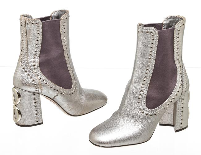 Item - Silver Cdt 500894 Leather Studded Ankle Boots/Booties Size EU 37 (Approx. US 7) Regular (M, B)