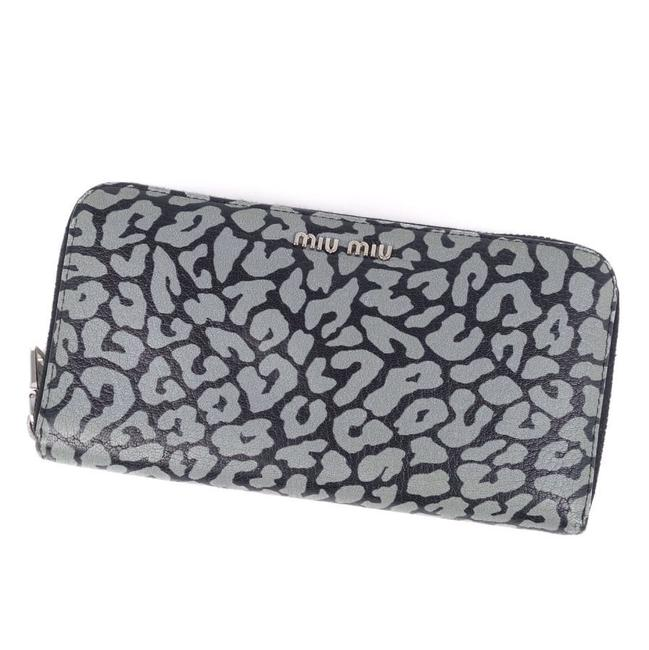 Item - Black / Gray Round Zipper Leather Long Ladies Leopard Wallet