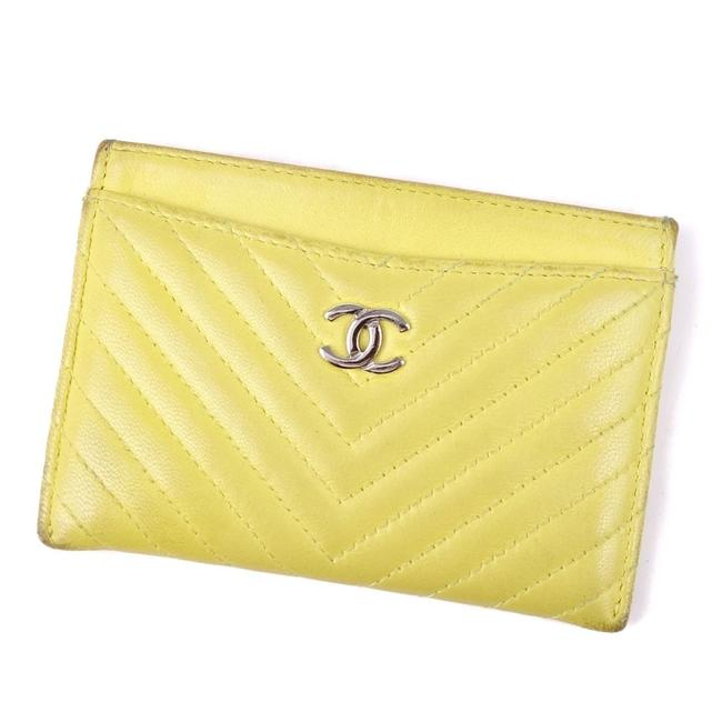 Item - Black / Yellow Chevron V Stitch Coco Mark Calf Leather Card Case Business Holder Wallet