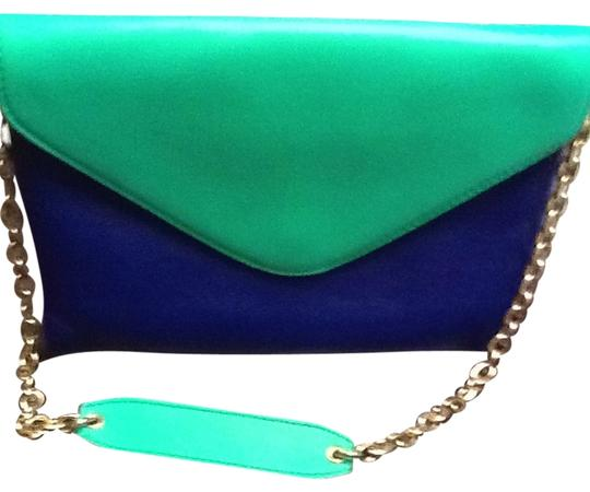 J.Crew Royal Blue And Green Leather Clutch