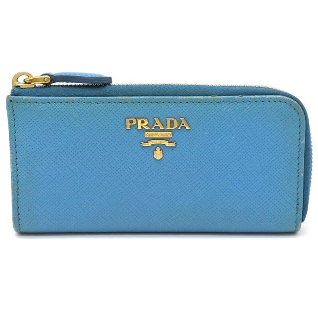 Item - Light Blue Saffiano Coin Case Purse L-shaped Fastener Leather Gold Metal Fittings 1pp026 Wallet