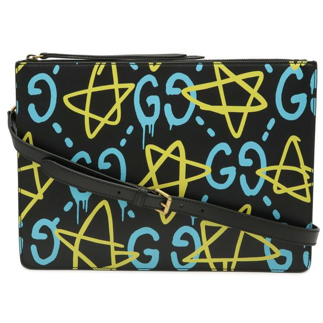 Item - Ghost Second 2way Shoulder 429004 Black / Light Blue / Yellow Leather Clutch