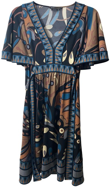 Item - Blue Brown Teal Mid-length Short Casual Dress Size 0 (XS)