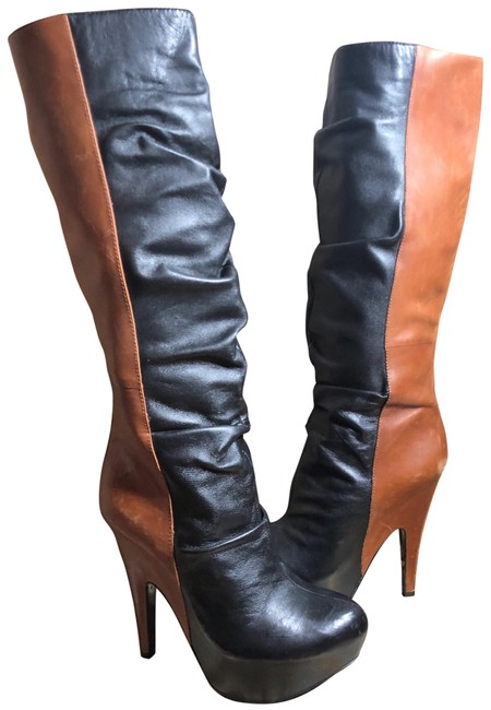 "Item - Black/Luggage Brown Black/Luggage Leather Tall 3.25"" Heel Platform Boots/Booties Size US 8 Regular (M, B)"