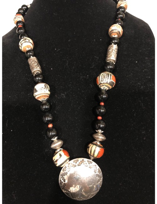 Item - Black Red Silver Copper Brown and Beige 925 Necklace