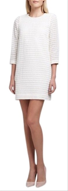 Item - Ivory Ashby Jewel-neck Embroidered Dot Mid-length Short Casual Dress Size 6 (S)