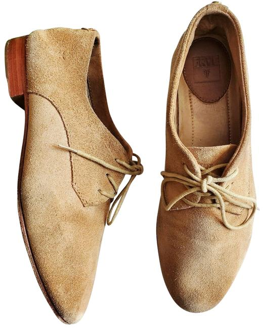 Item - Tan Tracy Suede Lace Up Almond Toe Oxford Flats Size US 8 Regular (M, B)