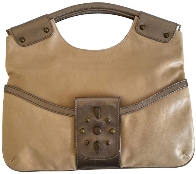 Item - Foldable Clutch/ Hand Beige Bronze Leather Clutch