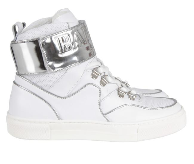 Item - White & Silver Paris Leather High Top New Sneakers Size EU 34 (Approx. US 4) Regular (M, B)