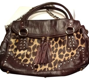 Hype Satchel in Brown And Leopard Print