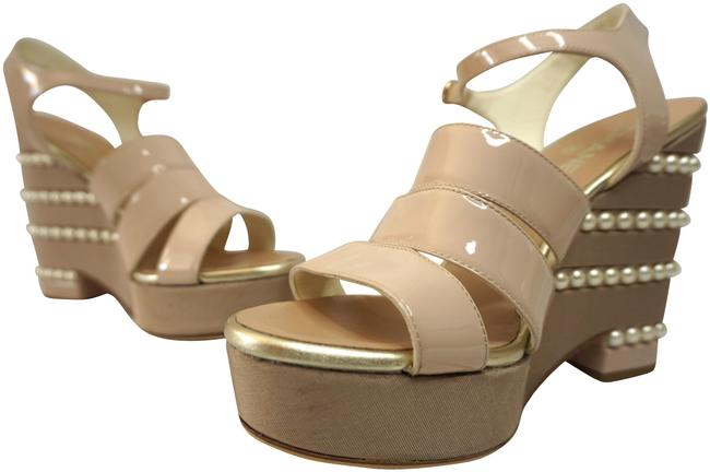 Item - Nude Patent Leather Wedge Strappy with Pearl Accents Sandals Size EU 41 (Approx. US 11) Regular (M, B)