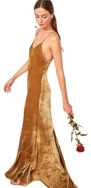 Item - Gold Rimini Long Night Out Dress Size 4 (S)