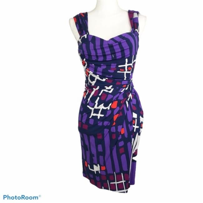 Item - Purple Abstract Silk Short Cocktail Dress Size 2 (XS)