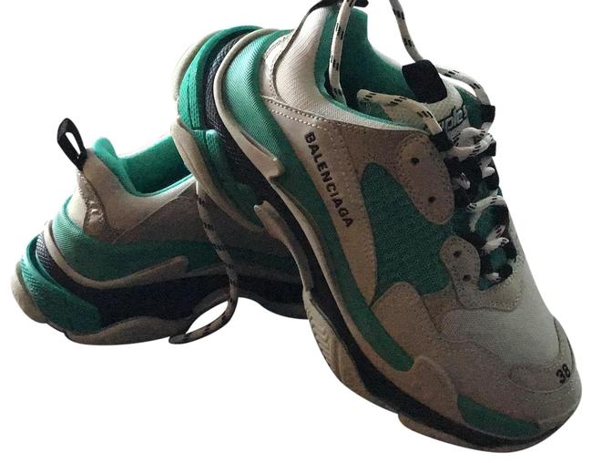 Item - White Blue Green Triple S Sneakers Size US 8 Wide (C, D)