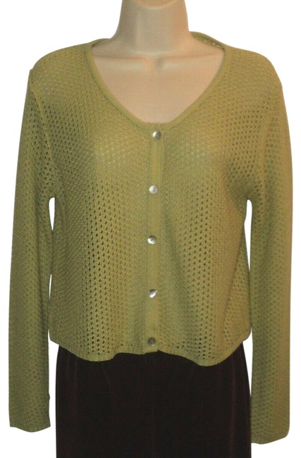 Item - Airy Lightweight Front Buttoned Acrylic Green Sweater