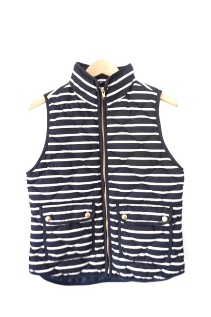 Item - Navy Blue White Stripes Puffer Vest Size 4 (S)