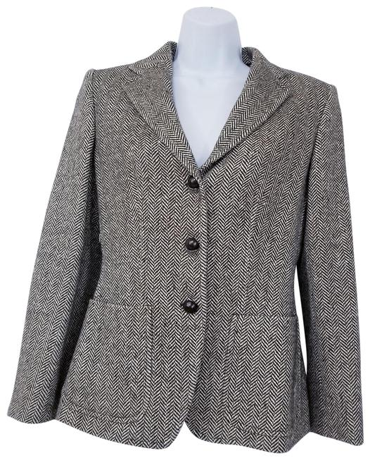 Item - Brown and Tan Wool Blend Herringbone Blazer Size 6 (S)