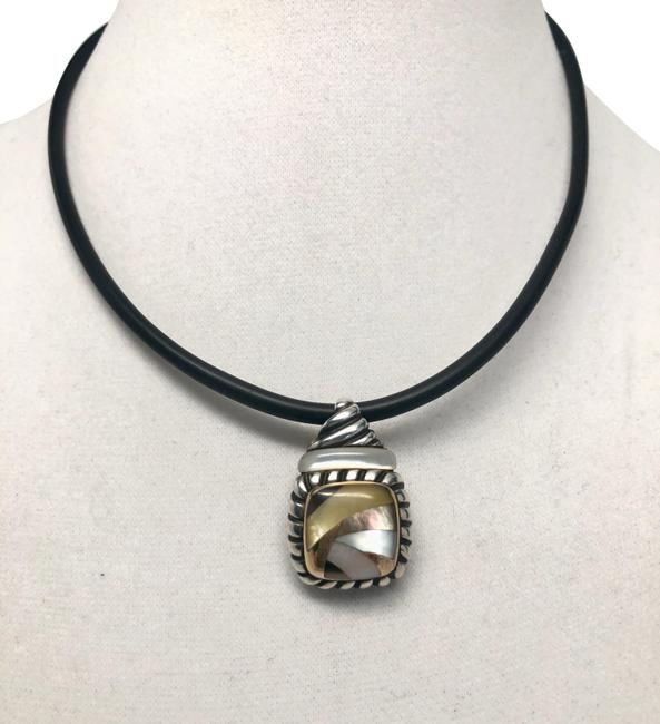 Item - 925 18k Gold Mother-of-pearl Abalone Inlay Pendant Choker Necklace