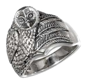 unknown Sterling Silver Antiqued Owl Ring