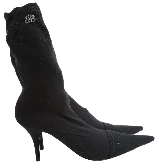 Item - Black Jersey Knife Stretch Sock Pointed Toe Ankle Boots/Booties Size US 10.5 Regular (M, B)