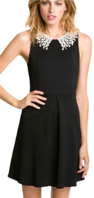 Free People Black High-neck Lace Collar Textured Short Cocktail Dress Size 8 (M) Free People Black High-neck Lace Collar Textured Short Cocktail Dress Size 8 (M) Image 1
