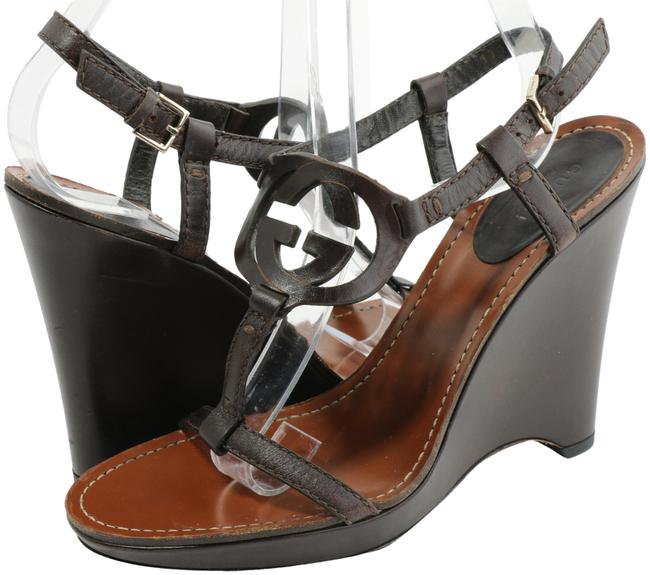 Item - Brown Leather Interlocking G T Strap Sandals Wedges Size EU 36 (Approx. US 6) Narrow (Aa, N)