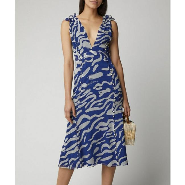 Item - Nwt-blue Printed Button-detailed Silk Mid-length Casual Maxi Dress Size 8 (M)