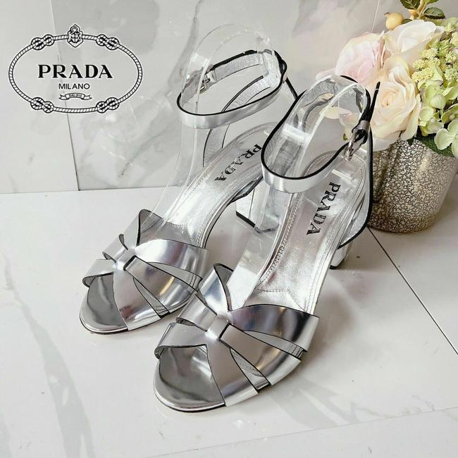 Item - Silver Metallic High Strappy Ankle Strap Leather Sandals Size US 10 Regular (M, B)