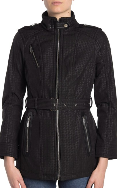 Item - Black Belted Soft Shell Houndstooth Zip Trench Jacket Coat Size 4 (S)