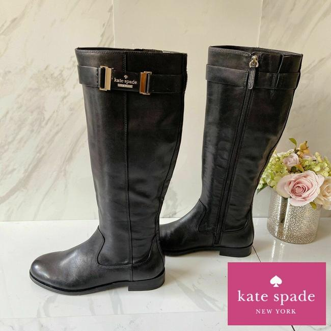 Item - Black Ronnie Logo Knee High Riding Low Heel Leather Boots/Booties Size US 6.5 Regular (M, B)