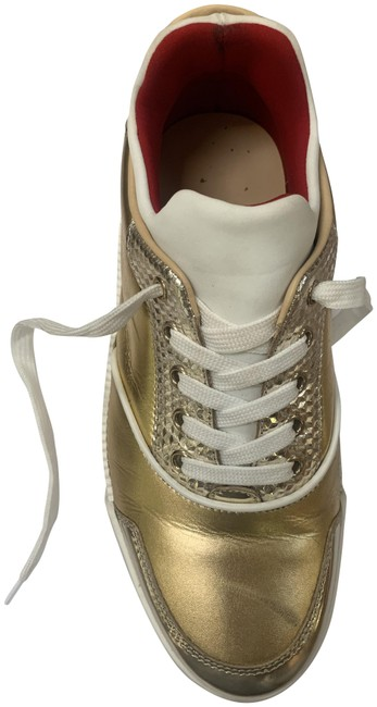 Item - White and Gold Aurelian Donna Flat/ Sp Sneakers Size US 9 Regular (M, B)
