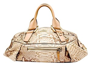 LVH Python Vbh Handmade Satchel in Natural Beige