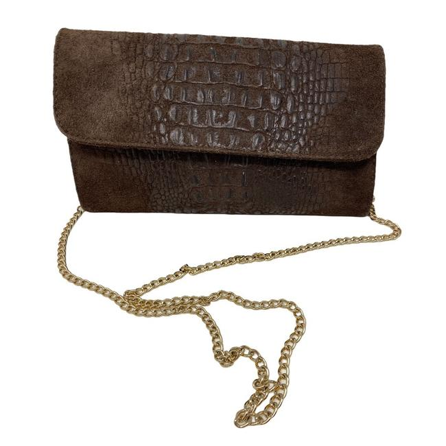 Item - Crocodile Embossed Chain Brown Suede Leather Cross Body Bag