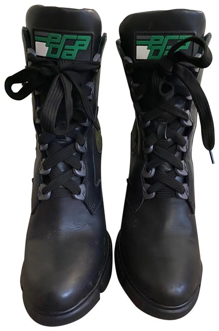 Item - Black and Green Chunky Boots/Booties Size EU 38 (Approx. US 8) Regular (M, B)