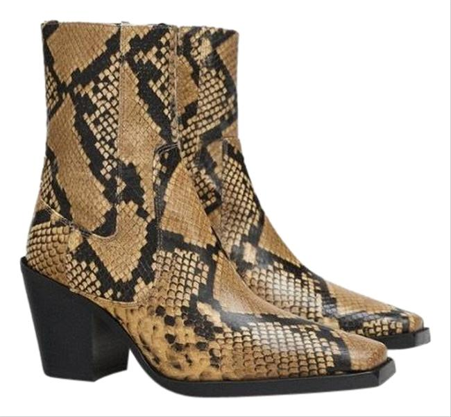 Item - Multicolor Leather Animal Snakeskin Print Heel Ankle Cowboy 7.5/38 New. Boots/Booties Size US 7.5 Regular (M, B)
