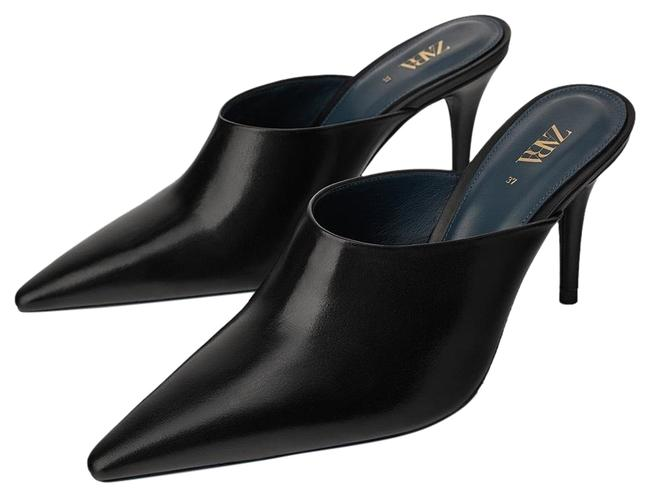 Item - Black Collection Leather Pointed Toe Color 6.5/37 New. Mules/Slides Size US 6.5 Regular (M, B)