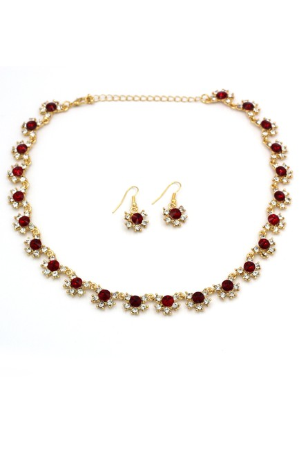 Item - Red Classic Gold Crystal Earring Set Necklace