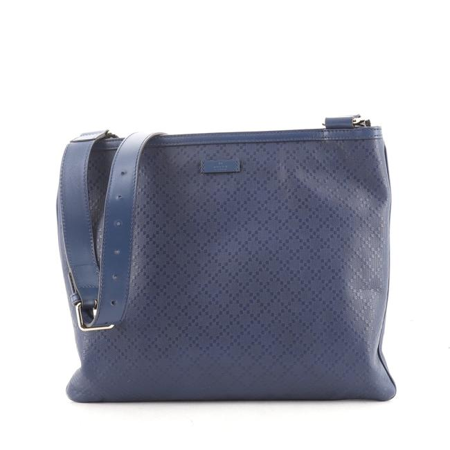 Item - Zip Top Diamante Large Blue Leather Messenger Bag