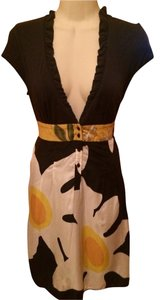 Free People short dress Black with White and Yellow Sun Flowers on Tradesy