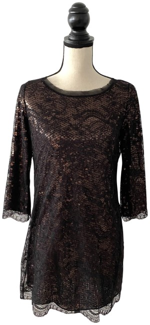 Item - Black Bronze XS Lace Over Sequins Short Casual Dress Size 0 (XS)