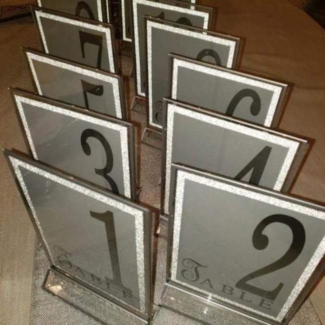 Item - Silver Table Numbers 1-18 Acrylic Frames -- Glitter