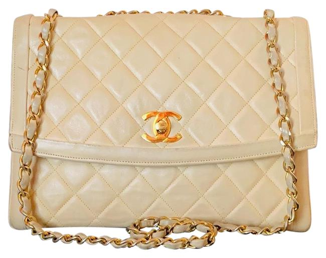 Item - Diana Classic Flap 24k Gold Quilted Diamond Stitch Double Chain Ivory Lambskin Leather Shoulder Bag