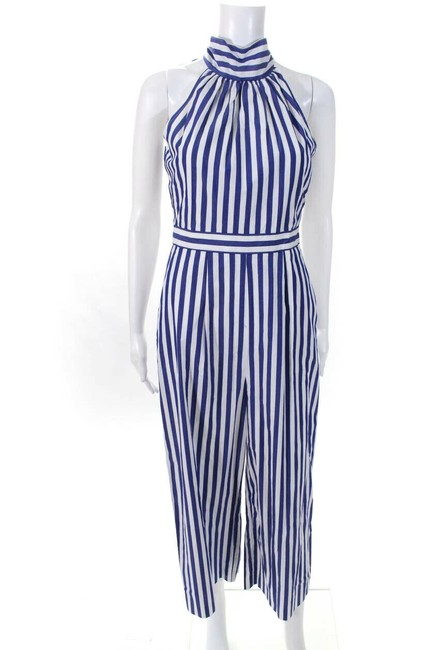 Item - Blue/White Womens Sleeveless Crew Neck Striped Cropped Romper/Jumpsuit
