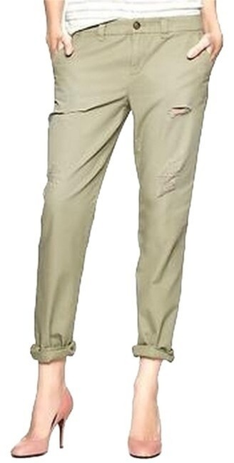Item - Green Broken In Straight Leg Distressed Relaxed Fit Olive Pants Size 00 (XXS, 24)