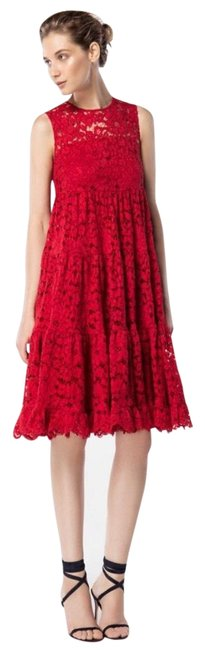Item - Red Lace Mid-length Cocktail Dress Size 6 (S)
