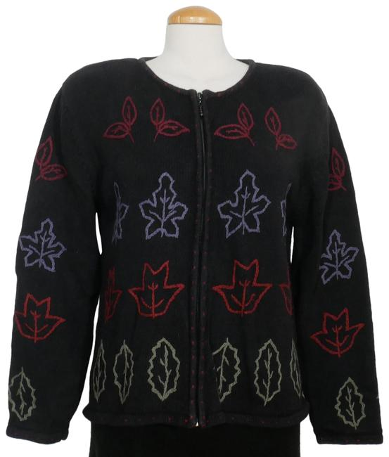 Item - Black L Ramie Cotton Embroidered Leaves Cardigan Size 12 (L)