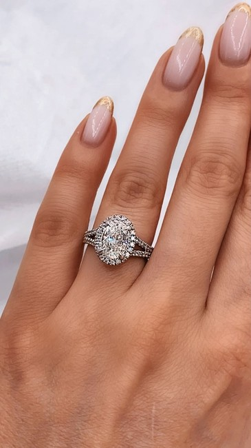 Item - 14 White Gold 1.80ct. Oval Cut Halo Style H/ Si1 Si2 Engagement Ring