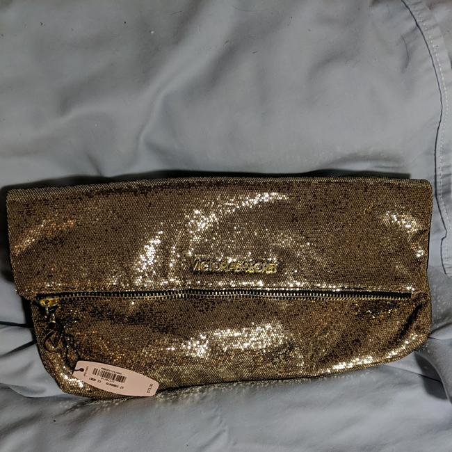 Item - Clutch Gold Sequins Over Black Fabric Satchel