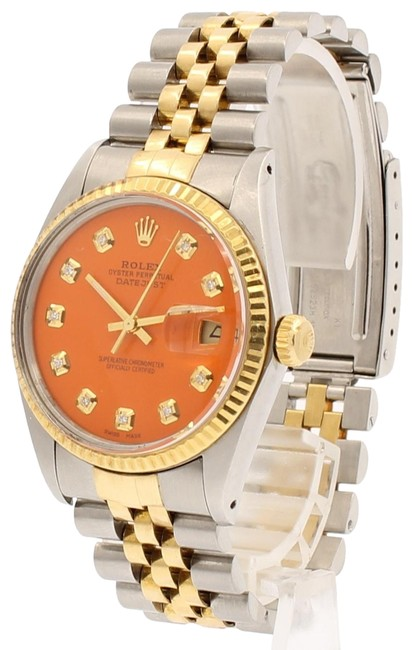 Item - Orange Mens Vintage Oyster Perpetual Datejust 36mm Diamond Dial Watch