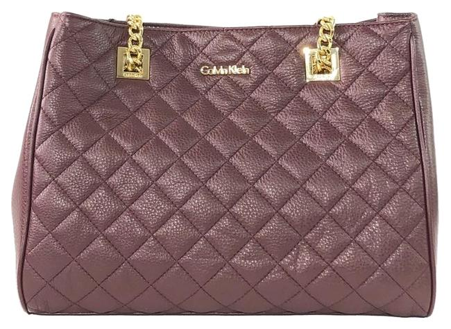 Item - Quilted Shoulder Wine Leather Tote
